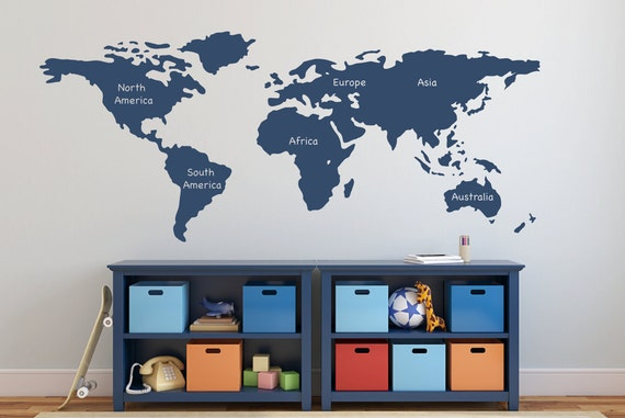 World map wall decal with continents vinyl wall sticker decals te gusta este artculo gumiabroncs Choice Image