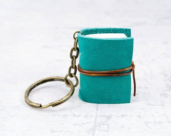Turquoise green blue  miniature book keychain, leather journal mini, book lover gift idea, bookish, bookworm gift, leather notebook