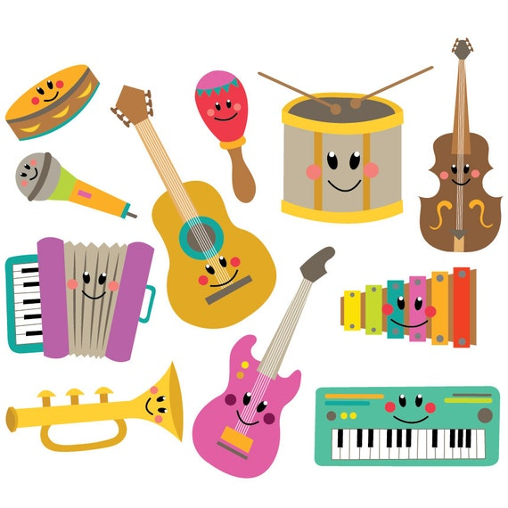 musical instruments clipart vector set instant download rh etsy com instrument clipart black and white instrument clipart