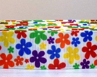 """2 Yards or More of 7/8"""" Fun Primary Color Daisy Flower Print Grosgrain Ribbon"""