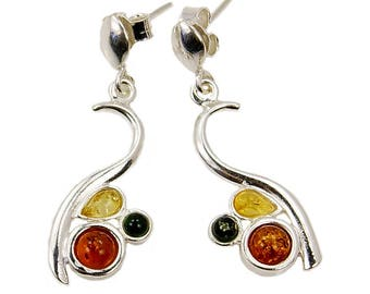 Baltic Mixed Amber Earrings & Sterling Silver Dangle Earrings , AF595 The Silver Plaza