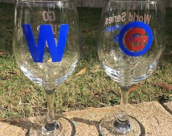 Chicago Cubs World Series Wine Glass set - 2016 Worl Series - Fly the W - Wine glasses - Chicago Cubs fan - Christmas Present - World Series