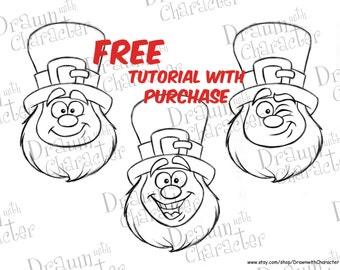 3 Smiling Leprechauns Cookie Tutorial and KopyKake Image/ Digital Stamp