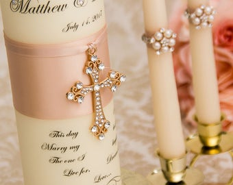 Rose Gold Unity Candle Set, Wedding Unity Candle Set, Personalized Ceremony Blush Unity Candles Set, Christian Wedding Candle Set Cross