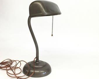 Industrial Desk Lamp, Bankers Lamp, Vintage Industrial, Bronze Metal Desk Lamp, Vintage Desk Lamp, Primitive Lamp, Industrial Lighting