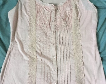 Pale pink button up tank. Lace detail. From Maurices size large.