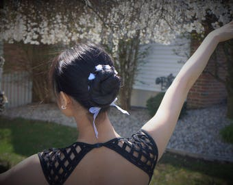 Black White Organza Bunflower Bun Hair Tie Rosette Garland Ballet Bun Wrap