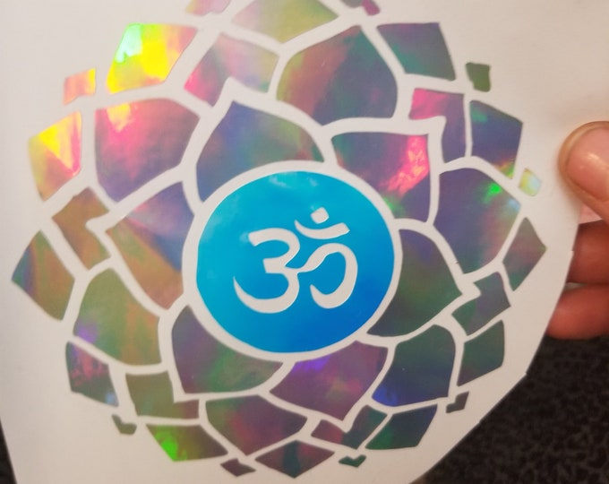 Color Shifting Vinyl Decal Thousand Petal Lotus Ohm // Natural Crystal // Car Decal // Window Decal // Multiple Surface Decal