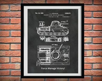 1945 Insulated Military Tank Patent Print Designed for the US Military - Army Tank Print - War Veteran Gift Idea - Force Manage Victory
