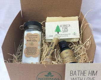 Bathe Him with Love - Gift Box of natural, handmade soap, lip balm, salve and bath salts
