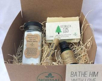 Bathe Him with Love - Gift Box of natural, handmade soap, lip balm, salve and bath salts