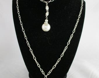 Double Silver Chains with Pearl Drops