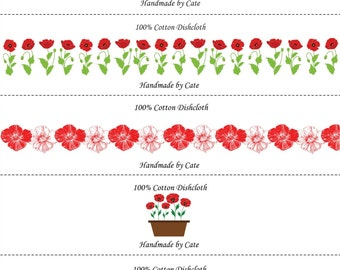 Poppies Dishcloth/Washcloth Labels - PDF File Only