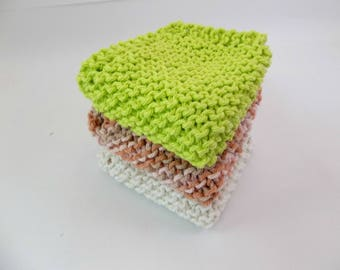 """Knit Cotton Cloths Natural, Tan and Coral Variegated and Lime Green Cotton Wash Dish Cloths  8"""" Square Set of 3"""