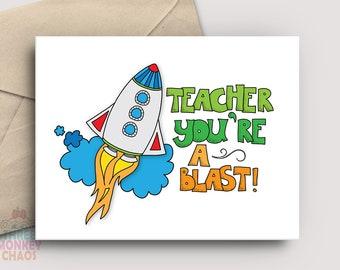 Teacher Appreciation Card | PRINTABLE Card | Teacher You're a Blast | Thank You Card | Teacher Gift | End of School | Print & Color!