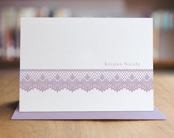Personalized Stationery Note Card Set - Set of 10 Folded Shimmer Note Cards - NC8001