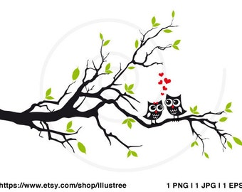 Wedding tree with cute owls, wedding invitation, guest book, wedding gift, art print, printable wall art, gift for couples, instant download