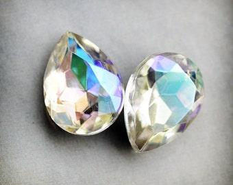 15x11mm Pear Teardrop Crystal AB Glass Jewels Stones Gems, Czech Republic, Quantity 2 (M1-3-2)