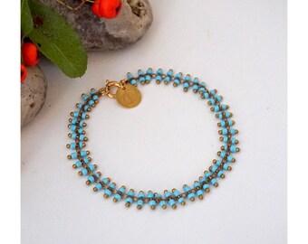 Bracelet, à Mini Perles de Rocaille bleu turquoise, finitions dorées