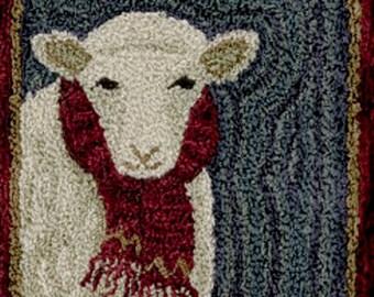 "TERESA KOGUT ""For Ewe"" PN165   Primitive PUNCH Needle Pattern   Sheep, Lamb, Scarf"