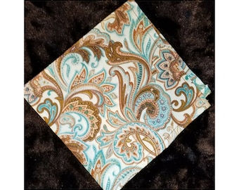 Pocket Square - Paisley - Brown and Blue