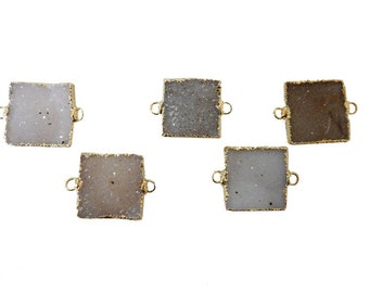 Druzy Druzzy Drusy Square Pendant with 24k Gold Electroplated Edge - Double Bail Square Connector Pendant (S11B4-15)