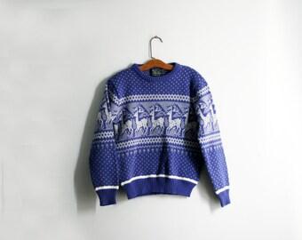 vintage 80s Country Blue Reindeer Deer Ladies Winter Sweater Pull Over M