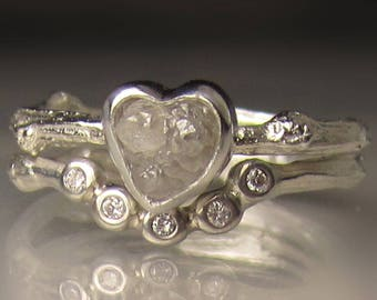 Heart Shaped Raw Diamond Engagement Ring, Rough Diamond Wedding Set, Uncut Diamond Twig Ring
