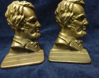 """Vintage ABRAHAM LINCOLN 16th president Brass Bookends profile 6"""" high"""