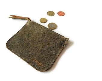 Leather tiny little zipper pouch purse travel small wallet make up bag zipper coin mini purse tiny wallet bag zipper bag gift for him