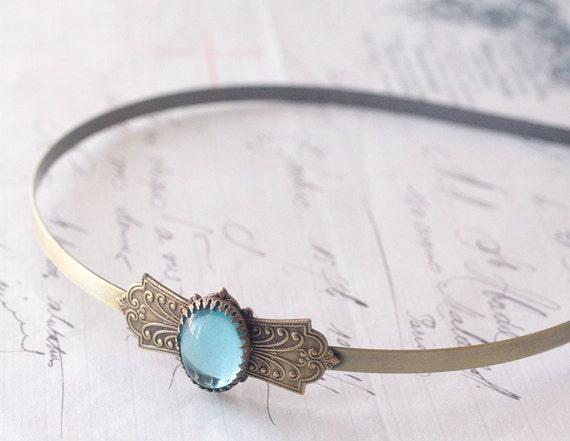 antique bridal headband aquamarine brass vintage style aqua