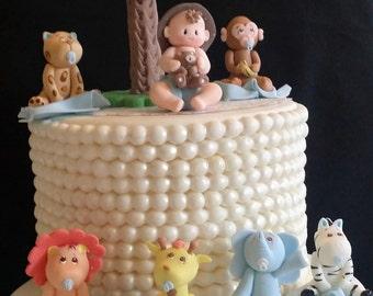 Baby Shower Cake Ideas Zoo Animals ~ Jungle caketoppers jungle baby shower safari baby shower