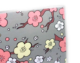 Passport Cover - Cherry Blossoms - peach and grey sakura floral passport holder