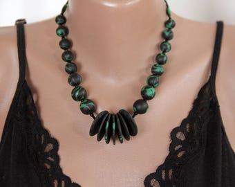 Boho necklace/green black handmade ceramic necklace