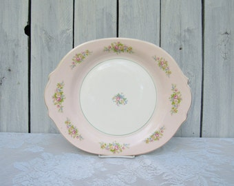 Pink Rose Platter, American Limoges, Troubadour pattern, 40s Pink Shabby Chic Rose Platter, Wedding Platter, Tea Party, Pink Rose Platter