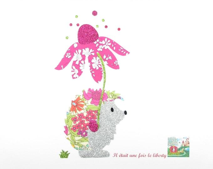 Applied fusing Hedgehog and Ciara liberty fabric flower summer & Capel flex fuchsia glitter patch iron on patch applique design