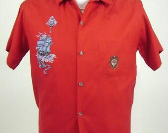 "Vintage 60s Mens Red Rockabilly Gabardine Shirt, Short Sleeve Shirt With Pocket, Shirt Jac, Nautical Novelty Print, C 42"", Viva Las Vegas"