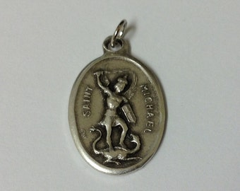 "Saint Michael the Archangel Silver Plate Medals 0.90"" Inch. Imported from Milan,Italy"
