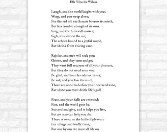 Solitude poem print, Laugh and the world laughs with you, poetry, Ella Wheeler Wilcox