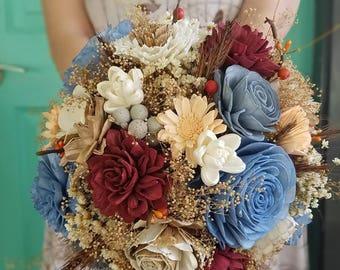 Autumn flower bouquet, sola wood bouquet, wooden bouquet, fall bouquet, bridal bouquet, rustic bridal bouquet, dried flower, wild flower