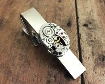 Tie Clip, Watch Part Tie Bar, Elgin Watch, Clasp, Silver Tie Bar, Watch Gear Tie Bar, Steampunk Tie Clip, Tie Bar, Watch Movement Tie Tack