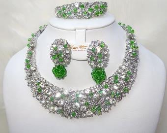 Custom Made Crystal Set with Swarovski Element Crystal Green Beads Party Wedding Jewellery Set