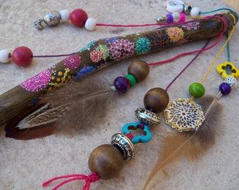 Talking stick / women's circle / sacred feminine / Dots Mandala / Shaman stick / unique