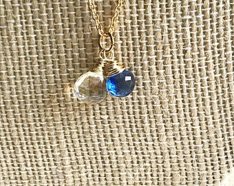 Faceted Citrine and Kyanite Teardrop Necklace on 14k Gold