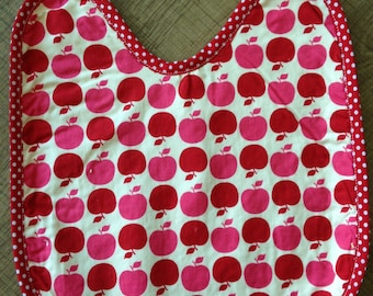 Bib pink Terry lined red and pink apples
