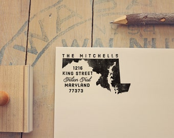 Maryland Return Address State Stamp, Personalized Rubber Stamp