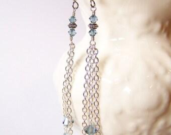 Rainfall... Handmade Jewelry Earrings Beaded Long Lightweight Dainty Sparkly Chain Crystal Light Blue Silver
