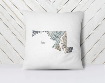 Maryland Home Throw Pillow Cover | Vintage License Plate Art | Maryland Pride Decor | State Outline