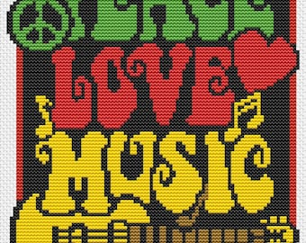 Music Cross Stitch Chart, Peace, Love and Music Cross Stitch Pattern PDF, Musical Cross Stitch, Embroidery Chart, Artwork by Lisa Fischer