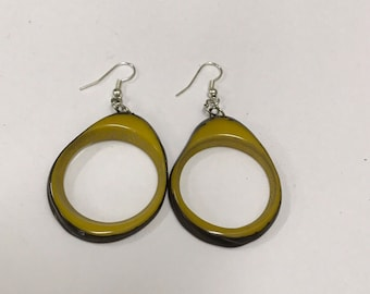 Tagua nut jewelry- bead Earrings. Eco Friendly- Mustard and Brown
